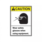 "Accuform MRPE626XP, 10″ x 7″ Safety Sign ""Wear Safety Glasses …"""
