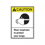 "Accuform MRPE628XP, 10″ x 7″ ANSI Safety Sign ""Wear Respirator …"""